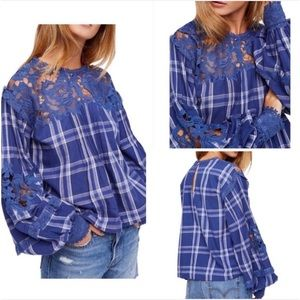 NWT Free People Darling Diana Top Blue Plaid